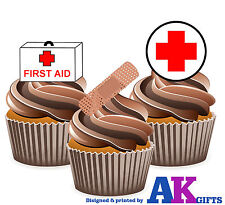 First aid medical infirmier fête d'anniversaire 12 cup cake toppers comestible décorations