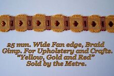"""Gold/Yellow & Red Fan edge Upholstery & Crafts Braid 1""""(25 mm.) wide."""