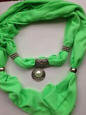 Ladies Cotton Scarf with Jewellery Accessory Necklace Beads Pendant