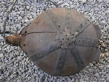 OLD RARE ANTIQUE WOODEN KEG CANTEEN VESSEL FOR WATER WITH LEATHER AND PATINA