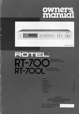 Rotel RT-700 Tuner Owners Manual