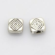 20 Square Tibetan Style Spacer Beads. Antique Silver. (BOX130)
