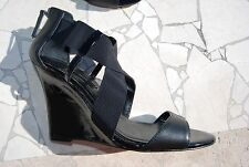 Black Leather & Patent Leather WHITE HOUSE BLACK MARKET Rear Zip Wedges 10 M