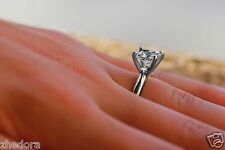 1.5 Ct Engagement Ring Princess Cut 14k Solid White Gold Bridal Jewelry
