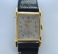 Mens Vintage Longines 14K Solid Yellow Gold Roman Numerals Leather Band Watch