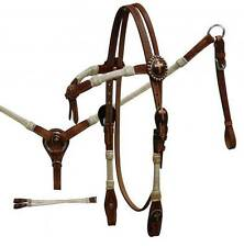 Showman MEDIUM OIL Cross Concho Bridle Breastcollar & Reins Set! NEW HORSE TACK!