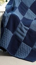 "KNITTING PATTERN - BEAUTIFUL SAMPLER-STYLE ARAN THROW/AFGHAN/BLANKET 46"" X 43"""