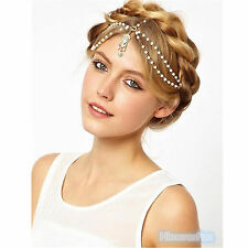 Women Fashion Metal Rhinestone Head Jewelry Headband Chain Headpiece Hair Band