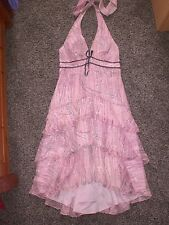 DEBUT Ladies 100%silk Pink Evening Party Wedding Dress,size 8
