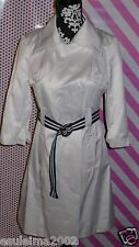 New bebe trench belted coat white 3/4 sleeves Spring sz XS X-small women belted