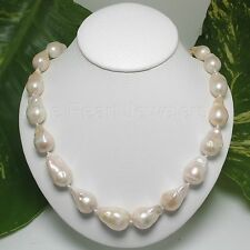 BAROQUE ROMANTIC WHITE NUCLEATED PEARL & 14K YELLOW GOLD CLASP NECKLACES