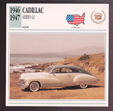 1946-1947 Cadillac Series 62 Hardtop Car Photo Spec Sheet Info Stat ATLAS CARD
