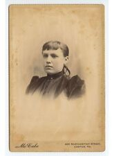 ANTIQUE CAB PHOTO OF YOUNG LADY IN DARK DRESS FROM EASTON, PA, STUDIO