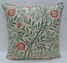 William Morris Fabric Cushion Cover 'Sweet Brier' Green/Coral 100% Cotton