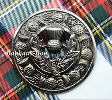 KILT PLAID BROOCH SCOTTISH THISTLE CREST CENTER & THISTLES BORDER ANTIQUE FINISH