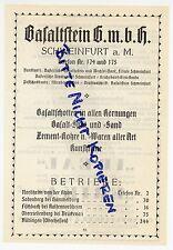 SCHWEINFURT/M., Werbung 1925, Basaltstein GmbH Basaltschotten Split Sand Kunstst