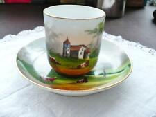 Antique Bavarian Porcelain Cup & Saucer - Hand Painted Pastoral Scene