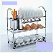 3 Tier Stainless Steel Dish Plate Cutlery Rack Kitchen Drainer Holder Drip Tray
