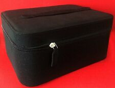 Lancome Black Sparkle Travel Cosmetic Vanity Makeup Bag with Inside Mirror NEW