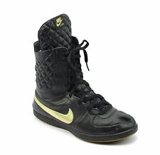 Nike Legend S/S Quilted Black Gold Leather High Top Boots Shoes Womens Size 12