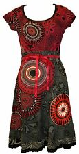 Desigual Kleid Noa Red and Black Shortsleeve Scoop Neck Dress Size XL