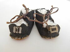 Vintage Black Oil Cloth Tie Shoes w/ Buckle Orn & Toe Stitches for (M) Doll