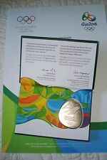 RIO 2016 OLYMPIC GAMES ATHLETE PARTICIPATION CASED MEDAL AND CERTIFICATE