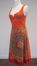 Desigual Dress Embellished Style V-neck Sleeveless Orange Cotton XS