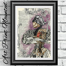 Victorian Goth Print mounted dictionary book page print Lady wall decor artwork