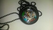 Round Black Memory Living Locket Necklace with Apple Charm  C
