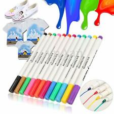 12pcs 2mm DIY Colour Fabric Textile Paint Marker Pen T-Shirts Shoes Clothes Tips