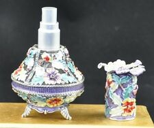Flower Jeweled Perfume Spray Bottle Fragrance Container Decoration ST66
