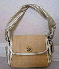 Coach Parker Mini Woven Straw & Gold Metallic Leather Shoulder Bag 42475