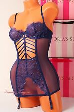 VS VICTORIA'S SECRET Skeleton Cut-Out Lingerie Garter Corset Unlined 34B Blue