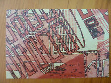POSTCARD...COTTON PULP ART...TITLED KONSTRUKTIONSZEICHNUNGEN RED...GEOMETRIC