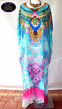 KAFTAN EMBELLISHED SILK CREPE 16/22 very Loose FIT aqua pink big sell off sale