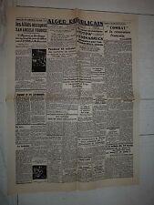 FAC-SIMILE A LA UNE JOURNAL ALGER REPUBLICAIN 14/05 1944 CAMPAGNE D'ITALIE
