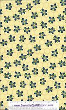 Beez Yellow HoneyComb Floral Cotton Quilting Novelty Quilt Fabric BTY