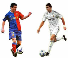Set of 2 Huge XXL Decals Cristiano Ronaldo and Lionel Messi Wall Stickers 33""