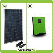 Kit fotovoltaico Casa pannelli solari 500W 24V Inverter onda pura 3000VA 2400W P