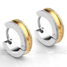Stainless Steel Drawbench Sand Blasting Earrings Gold and Silver Color Earrings