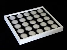 GEM TRAY STACKABLE 25 SPACE BLACK FOAM, WHITE TRAY, WHITE JARS