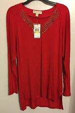 michael kors women's long sleeve Stretch Top Blouse Shirt Size : M Color: Red