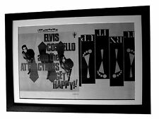 ELVIS COSTELLO+Get Happy+POSTER+AD+RARE ORIGINAL 1980+FRAMED+EXPRESS GLOBAL SHIP