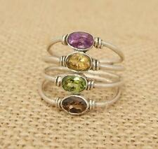 Mixed Cut Gem 925 Silver Wire work Ring UK Size R-US 8 3/4 Indian Jewellery