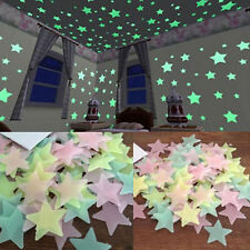 100 pcs Wall Glow In The Dark Stars Stickers Kids Bedroom Nursery Room Decor Uk
