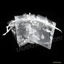 50 White Butterfly Organza Wedding Favour Pouch XMAS Gift Bags for Packaging JA