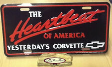 CHEVROLET HEARTBEAT OF AMERICA YESTERDAY'S CORVETTE LICENSE PLATE TAG