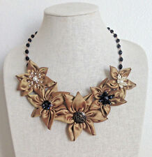 Statement Necklace Gold Black Fabric Floral Flower Textile Handmade Crystal