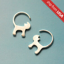 920 Sterling Silver Cat Kitty Kitten Designer Earrings Dangle Novelty gift Cute
